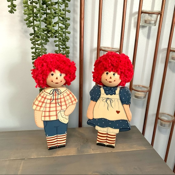 Vintage Raggedy Ann and Andy Standing Wooden Dolls
